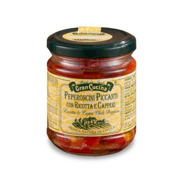 Červené pikantní chilli papričky s ricottou a kapary 180g
