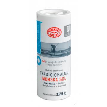 Tradiční mořská sůl, jemná, jodizovaná v papírové tubě 175g