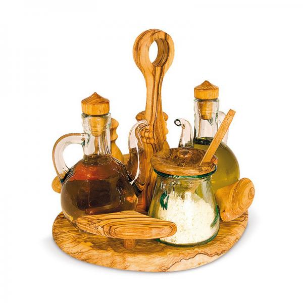Set na olej, ocet, sůl, pepř a parmezán 19 x 18 cm