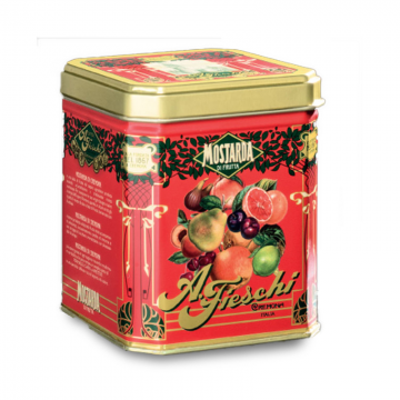 Mostarda sladce pikantní s míchaným ovocem v retro plechovce
