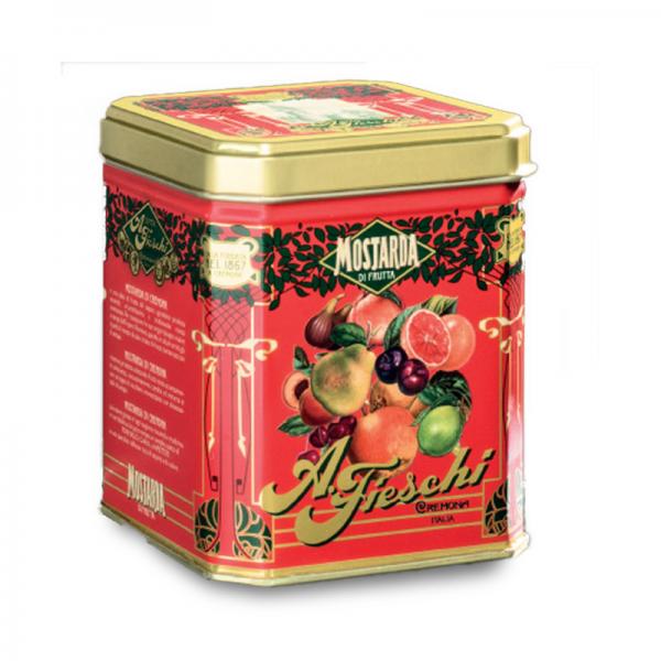 """Mostarda di frutti misti – lattina metallica contenente vaso """"P"""""""
