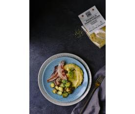 Houbová polenta s kapustičkami a slaninou